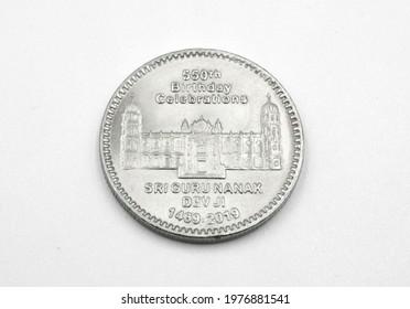 Dev Ji 550 Rupees Pakistani Commemorative Coin Issued on 550th Birth Anniversary of Guru Nanak the Founder of Sikhism - Shutterstock ID 1976881541