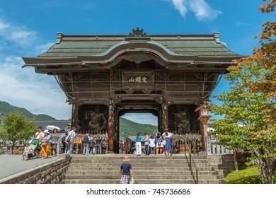 The deva gate of Zenko-ji temple in Nagano, Japan