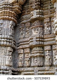 Devadasis, temple dancers, carvings on weathered red sandstone,