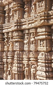 Devadasis, temple dancers, carvings on weathered red sandstone, Natamanira, Hall of Dance,Konarak Temple, Orissa,India, Asia