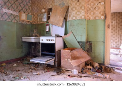 Devastated kitchen in a demolition house