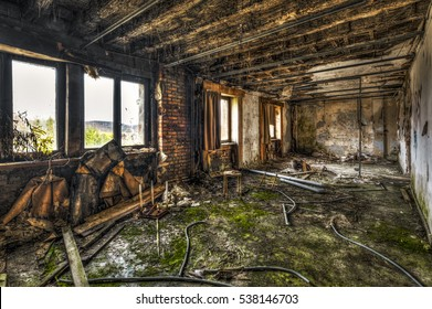Devastated room in an abandoned building