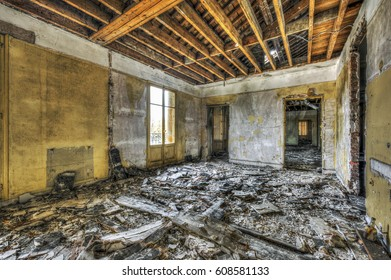 Devastated room in an abandoned building, HDR processing
