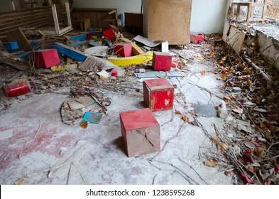 Devastation in abandoned kindergarten, dead ghost town of Pripyat, Chernobyl NPP exclusion zone, Ukraine