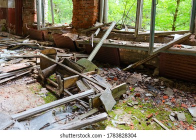 Devastation in former House of Culture in large resettled village of Pogonnoye in exclusion zone of Chernobyl nuclear power plant, Khoiniki district, Gomel region, Belarus