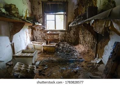 Devastation in premises of former veterinary laboratory in large resettled village of Pogonnoye in Chernobyl exclusion zone, Belarus