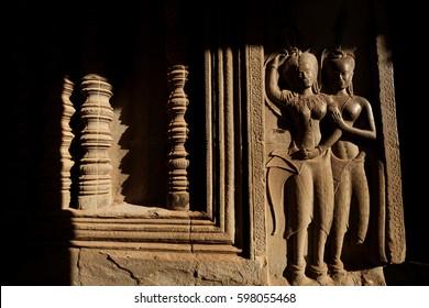 Devata carvings in Angkor Wat