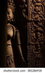Devata queen statue in Preah Khan temple in Angkor