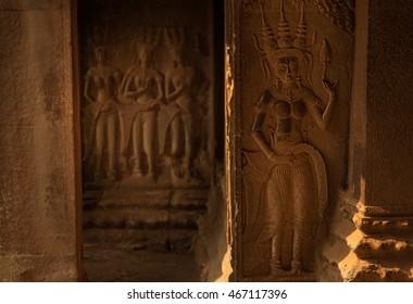 Devata statues in Angkor Wat