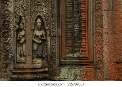 Devatas carving in Ta Prohm temple