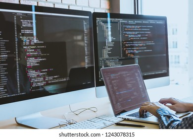 developer programming and coding technology. Website design Safety of the social world Cyberspace concept.