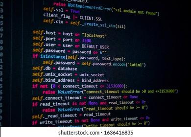developer software source code screen. programming code. writing script. programmer editing code background