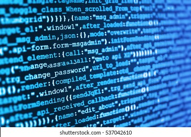 Developer working on websites codes in office. Displaying program code on computer. Abstract IT technology background.  Mobile app building. Programming of Internet website.