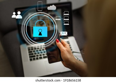 Developing network security system. Internet data security concept. Businessman using laptop.