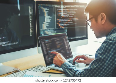 Developing programmer Development Website design and coding technologies working in software company office