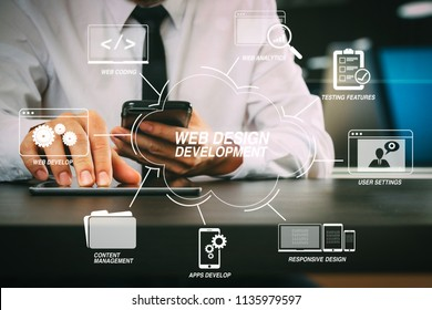 Developing programming and coding technologies with Website design in virtual diagram.lawer working with smart phone and digital tablet computer in modern office