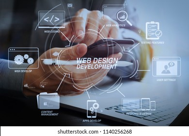 Developing programming and coding technologies with Website design in virtual diagram.businessman working with mobile phone and stylus pen and laptop computer on wooden desk in modern office