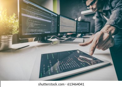Developing programming and coding technologies. Website design. Cyber space concept. - Shutterstock ID 613464041