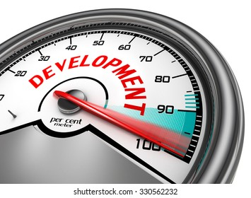 Development level conceptual meter indicate hundred per cent, isolated on white background