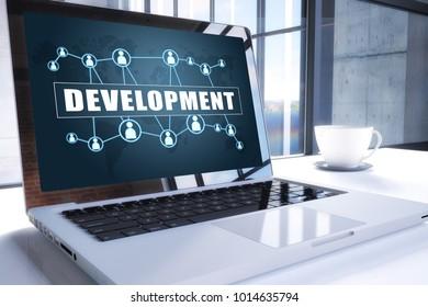 Development text on modern laptop screen in office environment. 3D render illustration business text concept.