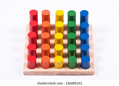 Developmental Toy: Bright Multi-Colored Cylinders
