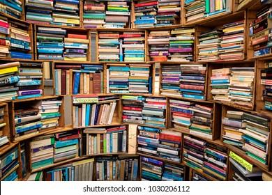 DEVENTER THE NETHERLANDS - AUG 6 2017: Various second hand books for sale at the Deventer Boekenmarkt (book market).