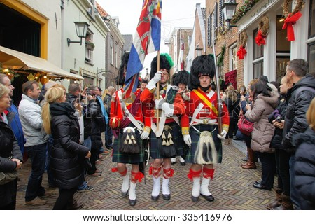deventer netherlands costumed participants dickens festival stock