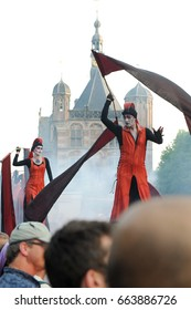 DEVENTER, THE NETHERLANDS - JULY 2010: Street theater event 'Deventer op Stelten (on stilts)' with a big variety of performances all through the center of the Hanseatic city of Deventer.