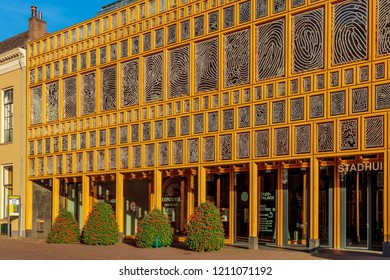 Deventer, The Netherlands - October 13, 2018: View at the contemporary town hall in the Dutch city of Deventer, The Netherlands