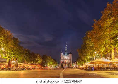 Deventer, The Netherlands - September 19, 2018: The central historic square with bars and restaurants in the ancient city center of Deventer, The Netherlands