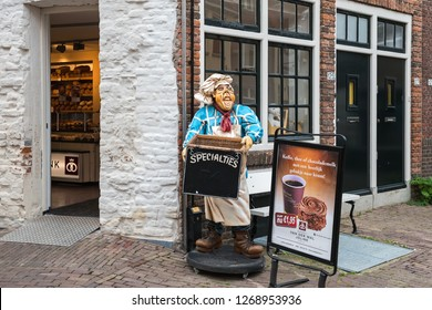 DEVENTER, OVERijSSEL / THE NETHERLAND - JUNE 30, 2017: Funny advertising near the bakery in the old part of the city