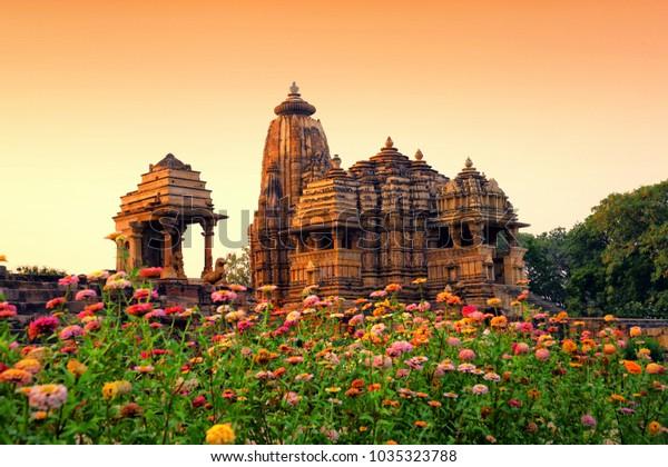 Devi Jagdamba Temple, Sunset at Western Group of Temples, Khajuraho, Madhya Pradesh, India. it's an UNESCO world heritage site.