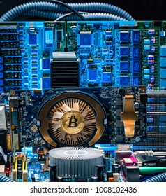 Device and machines for mining cryptocurrency. Bitcoin mining. Computer circuit computer board