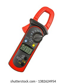 A device for measuring voltage, current, resistance, frequency on a white background.  isolated. Clamp  multimeter