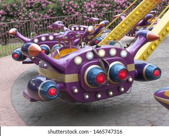 Device related to funfair, especially carousel game, featuring skyrocket fun.