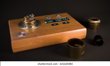 Device for vapers - wooden deck with resistance meter to rebuild micro coil for rebuildable dripping atomizer