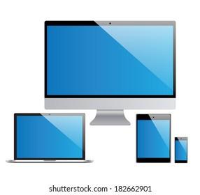 devices set, laptop, pc, tablet, smartphone illustration