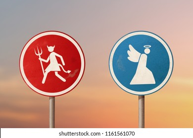 Devil and the angel running in different directions. Road sign