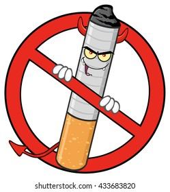 Devil Cigarette Cartoon Mascot Character In A Red Prohibited Symbol. Raster Illustration Isolated On White Background