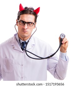 Devil doctor in funny medical concept isolated on white background