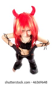 Devil girl. Devils carnival  costume. Isolated. Above