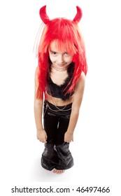 Devil girl. Devils carnival  costume. Isolated.