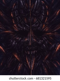 Devil head statue illustration. Illustration of a horror devil head with tongue and glowing fire stripes and effects.