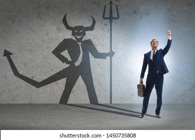 Devil hiding in the businessman - alter ego concept