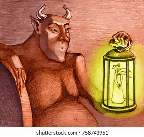 the devil holds a lantern with an angel in his hand