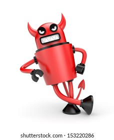 Devil leaning on an imaginary object