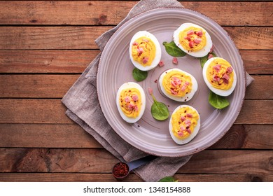 Deviled Eggs with Bacon. Deviled Eggs Made with eggs, bacon, cream cheese.
