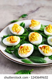 Deviled Eggs with Paprika as an Appetizer, copy space