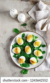 Deviled Eggs with Paprika as an Appetizer, top view