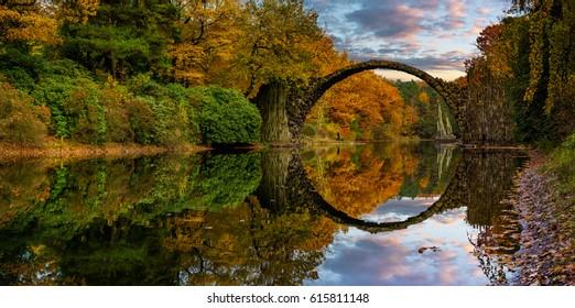 Devil's Bridge in Kromlau in the autumn rhododendron park
